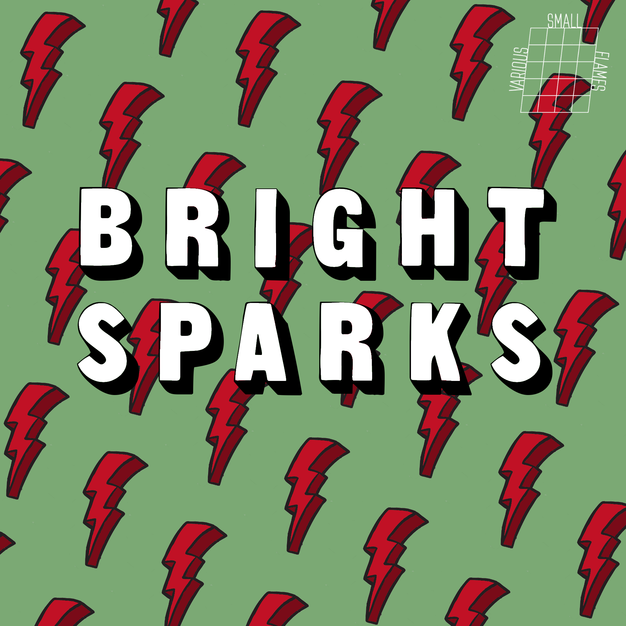cartoon lightning bolts behind text that says Bright Sparks
